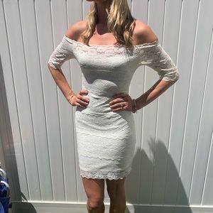 Off the shoulder white lace mini dress